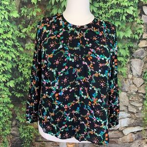 ANTHROPOLOGIE MAEVE Floral Button-Front Top, XL